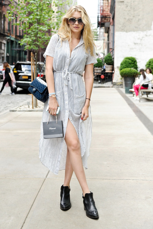 NEW YORK, NY - MAY 31: Model Gigi Hadid is seen around Soho wearing a Reformation dress, Chanel shoes, Chanel bag and See sunglasses on May 31, 2014 in New York City. (Photo by Daniel Zuchnik/Getty Images)